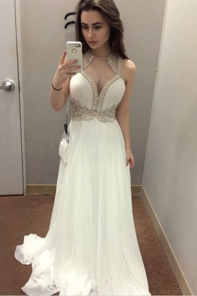 White Prom Dress,Beaded Prom Dress,Fashion Prom Dress,Sexy Party