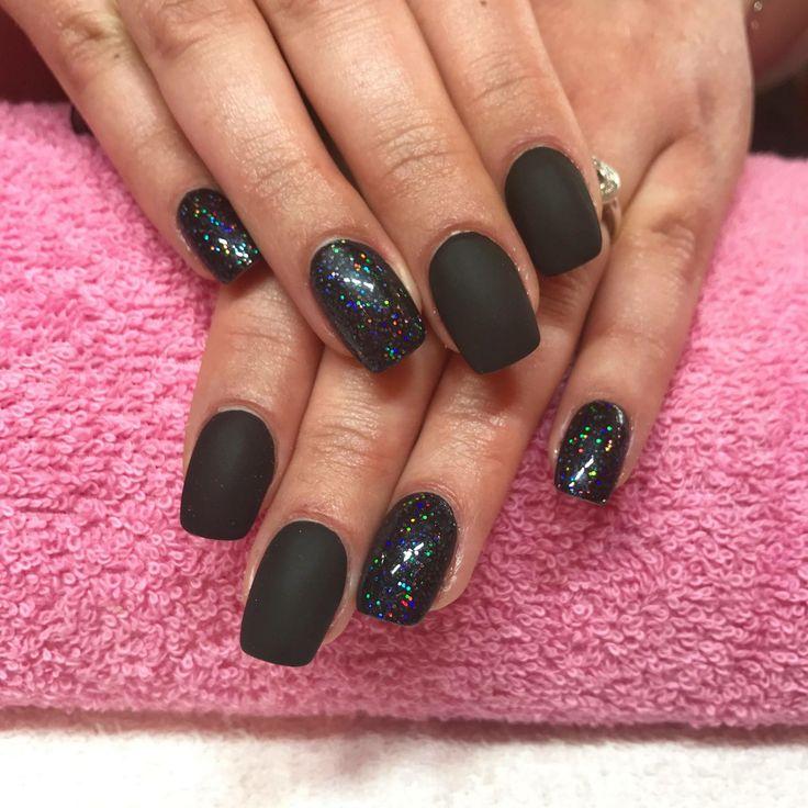 🖤Matte & Holo Acrylic Nails🖤 #nails #negler #naglar #shellac #cnd #acrylicnails #gel #gelnails #manicure #stavanger #norge #norway #beauty #nailart #nailpolish #nailsofinstagram #nailstagram #nailswag #instanails #instagood #instadaily #nailsoftheday #notd #holographic #nailpro #glitter #perfection #matte #holo #californianails