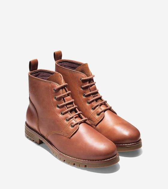 Keaton Waterproof Lace Boots in Woodbury   Cole Haan Outlet