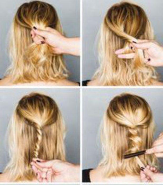 """Dica de cabelo curto: coque """"boêmio"""". Em vez de trançar, torça os cabelos e crie volume"""