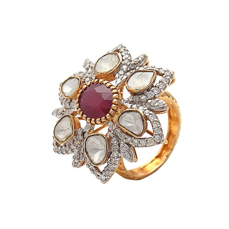 Buy this ethnic polki ring online by Anmol Jewellers at Velvetcase.com