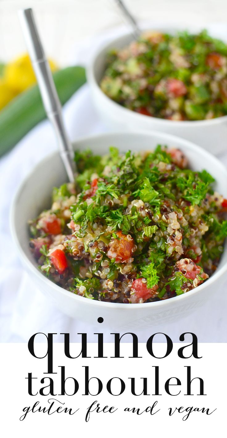 Quinoa Tabbouleh Salad! This healthy, gluten-free salad is perfect for summer! Packed with vegetables, herbs and a lemon dressing. You've gotta try this!