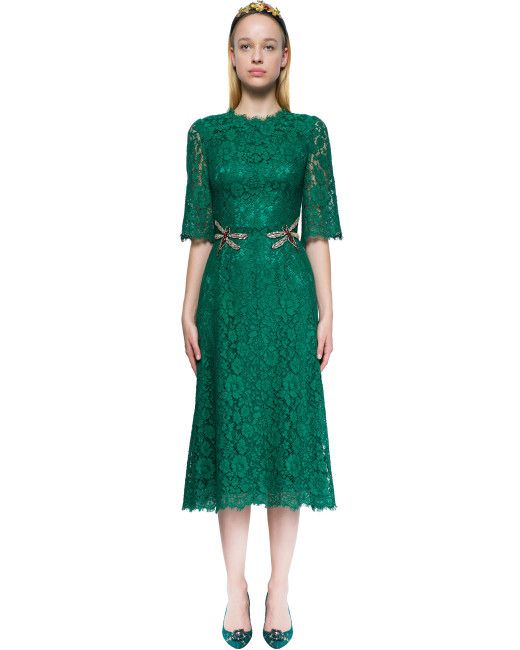Dolce & Gabbana | Green Crystal-embellished Lace Dress | Lyst