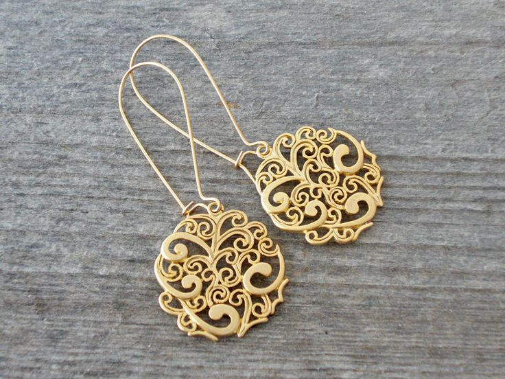 Long Gold FILIGREE EARRINGS - Indie Bohemian Earrings - Bohemian Jewelry - Bridesmaid Wedding Jewelry. $30.00, via Etsy.