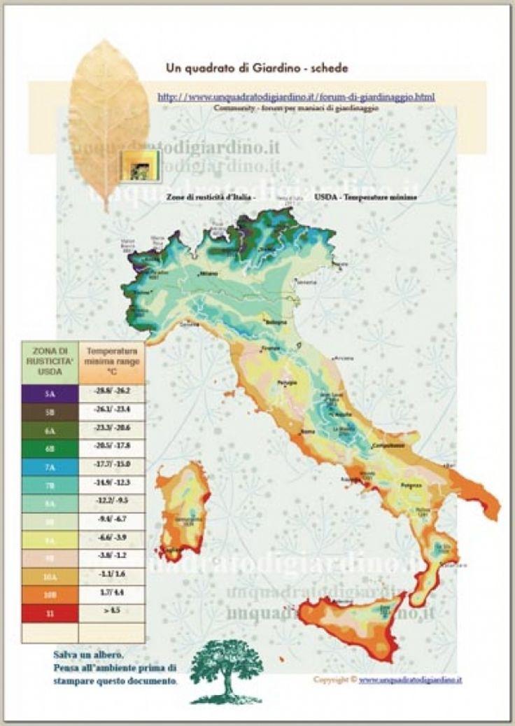 Mappa temperatura USDA dell'Italia (per determinare le piante resistenti al freddo)