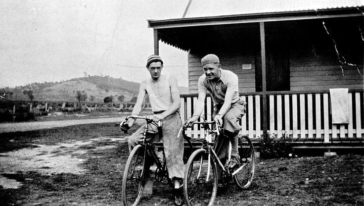 John Handley and Rupert Matchett on bicycles outside the Glenburn Hotel and Post Office, 1934. Museums Victoria https://collections.museumvictoria.com.au/items/768948