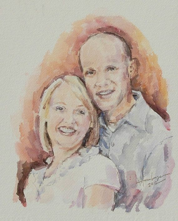 Custom Watercolor Painting from Engagement photo by BloominMorning