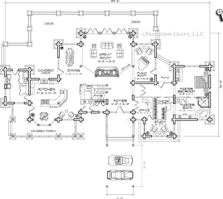 Ticonderoga Log Home Floor Plan