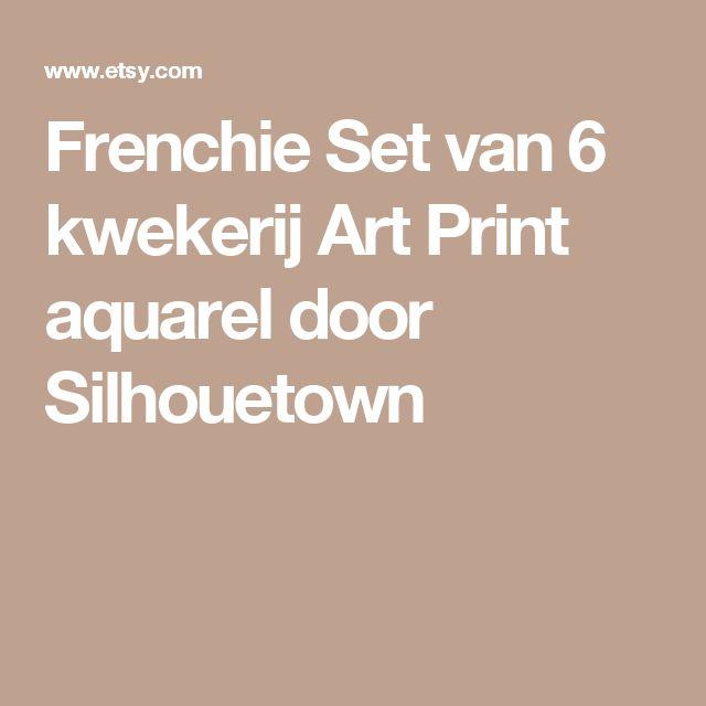 Frenchie Set van 6 kwekerij Art Print aquarel door Silhouetown