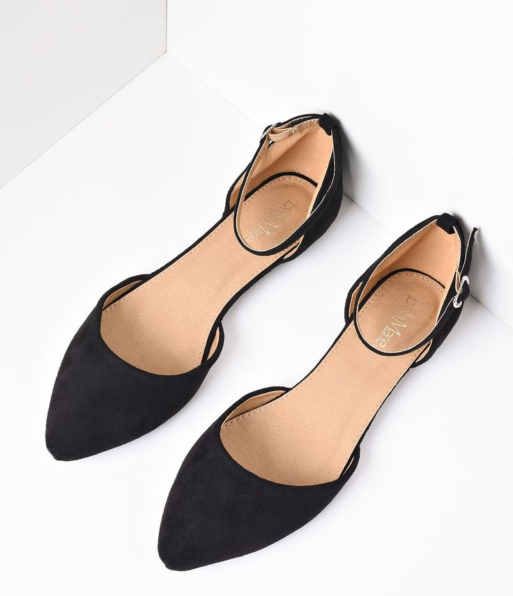 Black Faux Suede Pointed Tow Ankle Strap Flats