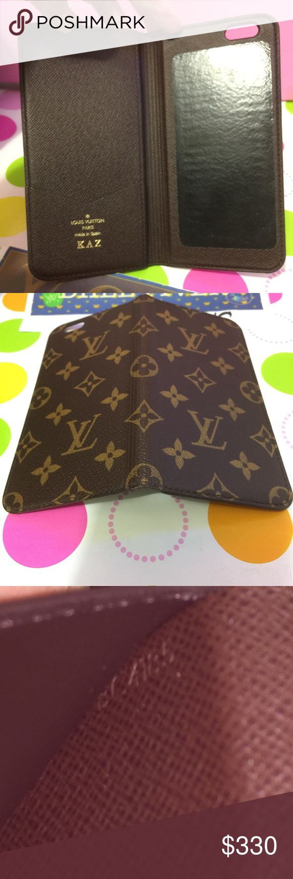 """AUTHENTIC🚨 SOLD ON FB 🚨LV IPHONE 📱 6PLUS IN MON Authentic Louis Vuitton IPHONE 📱 6PLUS in monogram   🚨 FIRM NO HOLDS 🚨  💝 IPHONE 📱 6PLUS In excellent USED    Condition   💝DATECODE BC 4185 💝 NO MAJOR FLAWS TO SEE   💝 It has Initial in it  """" KAZ """"  INCLUDED- BOX AND Dustbag   please No Receipt 😁 Louis Vuitton Accessories Phone Cases"""