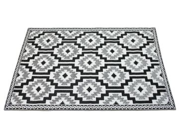 Home :: Rugs & Mats  :: Recycled Cotton Rugs :: Outdoor Floor Mat Black White Geo