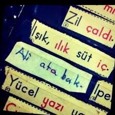 Learning sentences in Turkish.