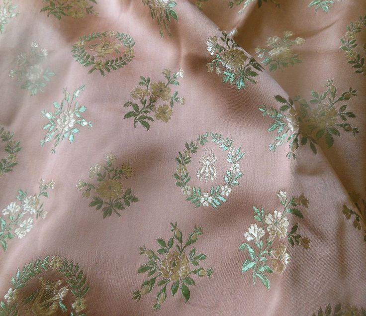 Antique Vtg French Napoleon Bee Laurel Leaf Satin Brocade Fabric Rose Green