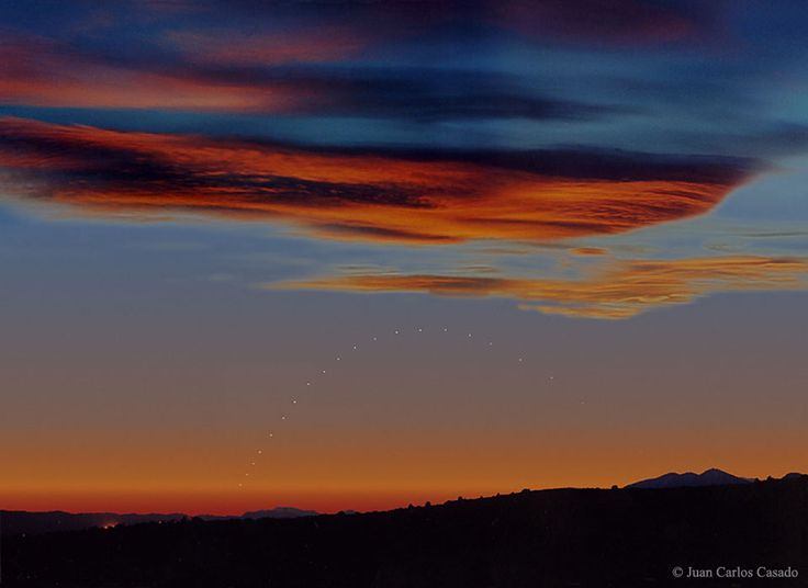 July 17, 2016:      Mercury on the Horizon   -   Image Credit & Copyright: Juan Carlos Casado  -   Explanation: Have you ever seen the planet Mercury? Because Mercury orbits so close to the Sun, it never wanders far from the Sun in Earth's sky. If trailing the Sun, Mercury will be visible low on the horizon for only a short while after sunset.  More...