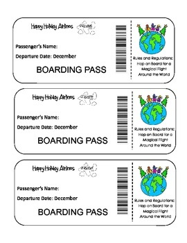 """FREE! Christmas Around The World Activity Unit -Print your Happy Holidays Airlines Boarding Pass and your Passport and """"visit"""" countries around the world to learn how they celebrate Christmas!"""