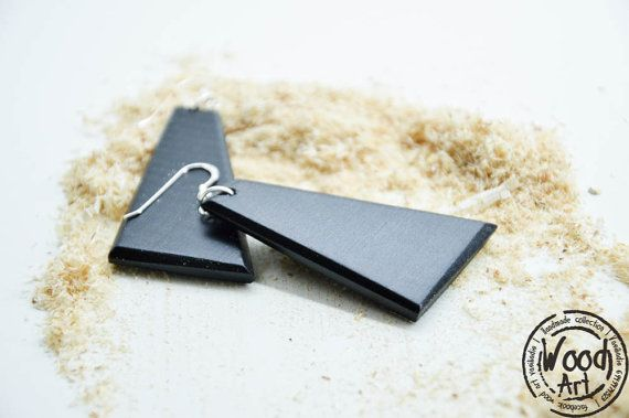 Geometric Black Wood Earrings Dangle Drop by TheWoodArtShop