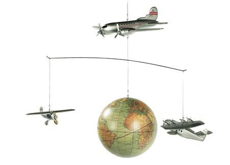 Authentic Models' charming Around the World Mobile features an airplane and globe!