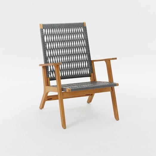 Catskill Wood + Wicker Chair - Teak/Gray | west elm
