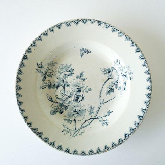 Faience Blue Transferware Soup Dish - Vintage Bowl - Antique French Plate  - Decorative Plate