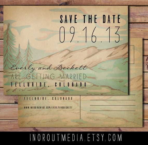 Rustic Save the Date Card Mountains Trees Forest by inoroutmedia, $55.00