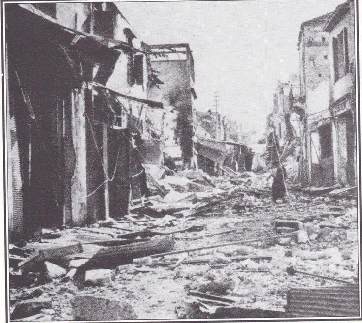 Ο δρόμος με τα στιβανάδικα, μετά από τον βομβαρδισμό των Χανίων από τους Ναζί
