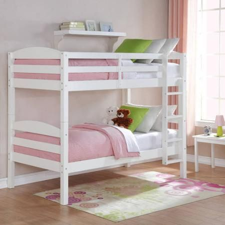 White Bunk Bed Twin Over Twin Wood Bunk Beds Loft Kids Bedroom Furniture  Ladder