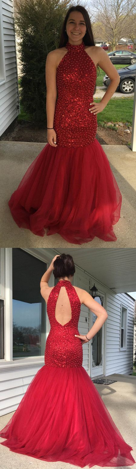 Luxurious Mermaid High Neck Open Back Beaded Red Prom Dresses cheap prom dress,long prom dress,prom dresses,red prom dress