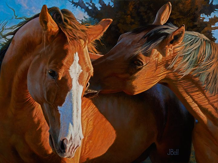 Flirt--Oil painting by Julie Bell