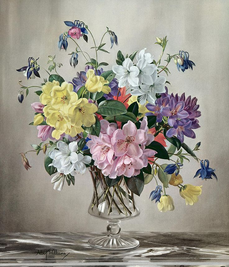Albert Williams (1922-2010) — Rhododendrons, Azaleas and Columbine in a Glass Vase (772x900)