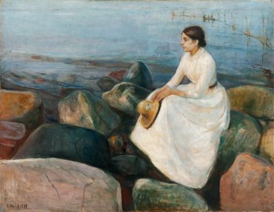 "la-belle-epoche: ""Edvard Munch (1863-1944) Inger på stranden (Inger at the Beach), 1889 Oil on canvas Munch Museet, Oslo """