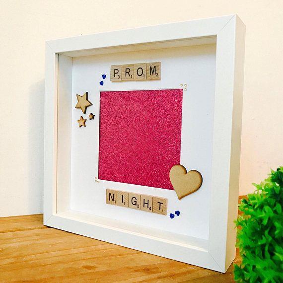 /'Prom Night/' Scrabble Tile Art Personalised Photo Box Frame Gift