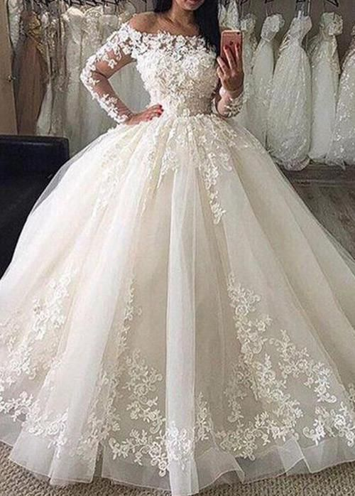 Glamorous Tulle Off The Shoulder Neckline Ball Gown Wedding Dresses With 3d Lace Appliques Beadi Ball Gowns Wedding Princess Bridal Gown Wedding Dresses Lace