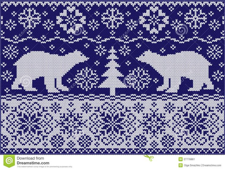 Knitted Ornament With Bears - Image: 27776861 from Dreamstime