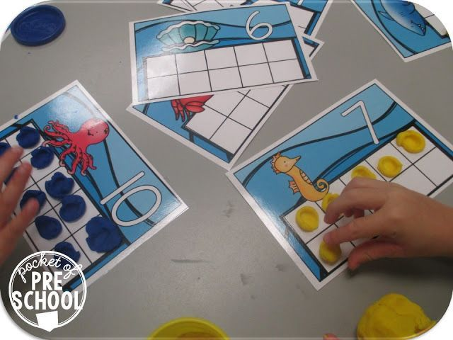 Ocean animal ten frame play dough mats (fine motor fun and counting) Pocket of Preschool