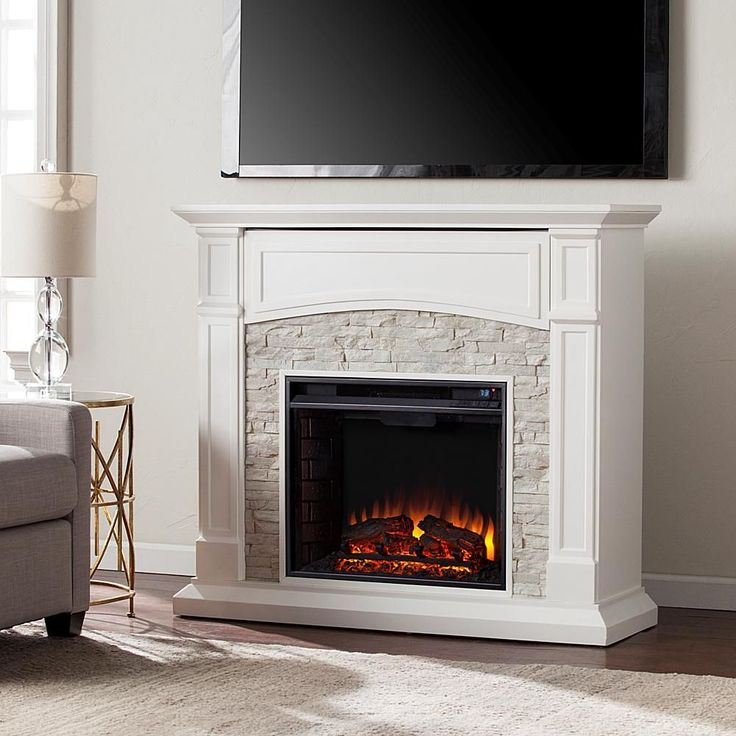 Home Marketplace Southern Enterprises Seneca Electric Media Fireplace - White with White Faux Stone