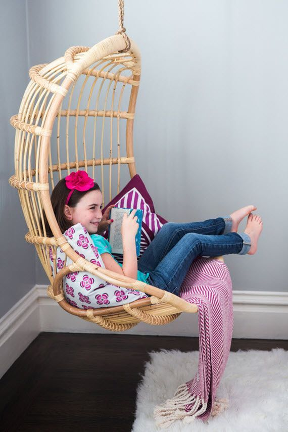 Rattan Hanging Chair For Reading Corner Girls Bedroom