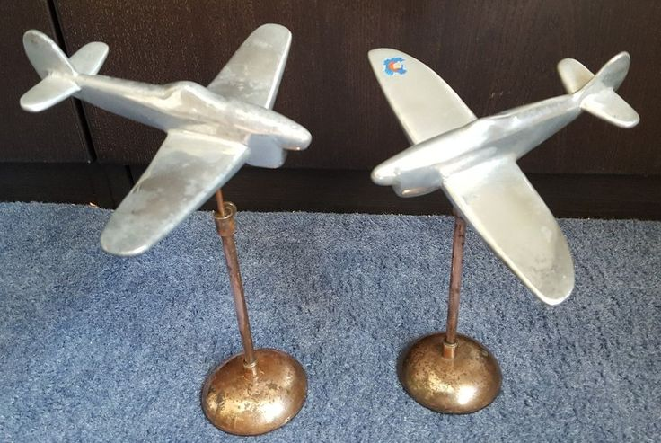 WWII Old Trench Art Aluminium TYPHOON's on copper Plinths - Superb Desk Display