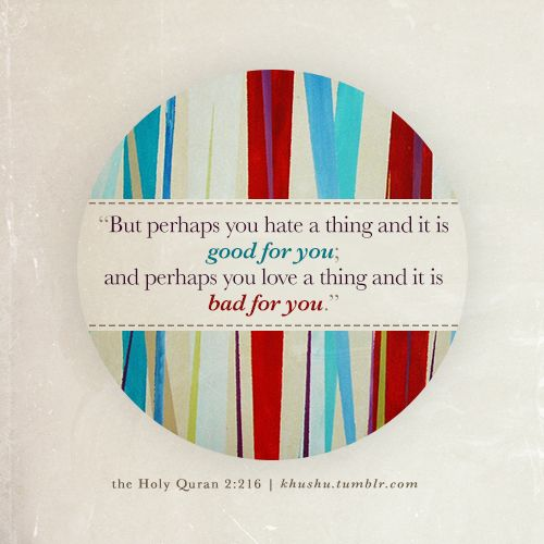 """""""But perhaps you hate a thing and it is good for you; and perhaps you love a thing and it is bad for you"""" ~ Al Quran - Al Baqarah verse 216"""