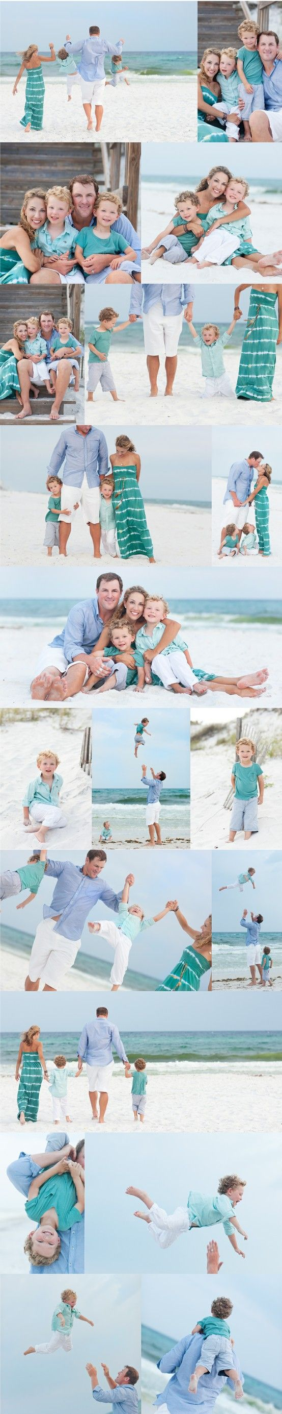 super cute family of 4. Look at the posing.  See how all the heads are together tight. Love the actions shots with the dad tossing the kiddos. love the mom's dress and coordinating colors. But I'd love to see ya'll in pinks, creams, whites, etc.