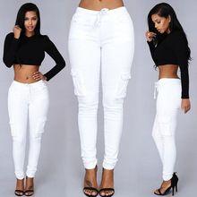 Calças de outono Para As Mulheres 2016 Longa das Mulheres Carga Calças de Cordão Casuais Pantalon Femme Feminino Branco Calças Mulheres Plus Size alishoppbrasil