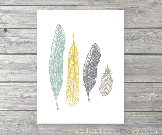 Feathers Art Print - Boho Ethnic Tribal Decor - Sage Green Mustard Yellow Slate grey Light Taupe
