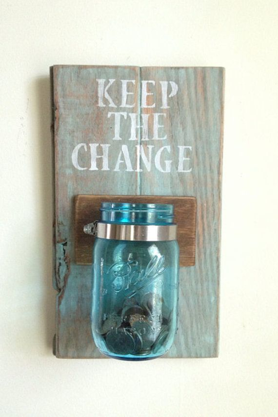KEEP THE CHANGE Laundry room decor by shoponelove on Etsy #home #decor