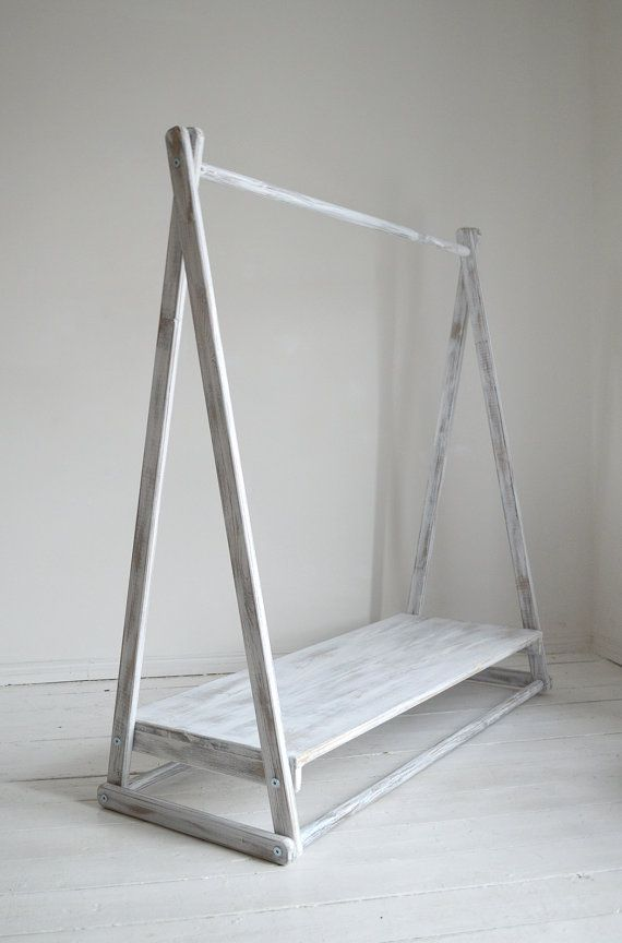 Handmade Natural Wood Clothes Rail with Shelf by PobiShop on Etsy