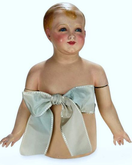 French Glass-Eyed Child Mannequin with Detachable Lower Body and Arms.