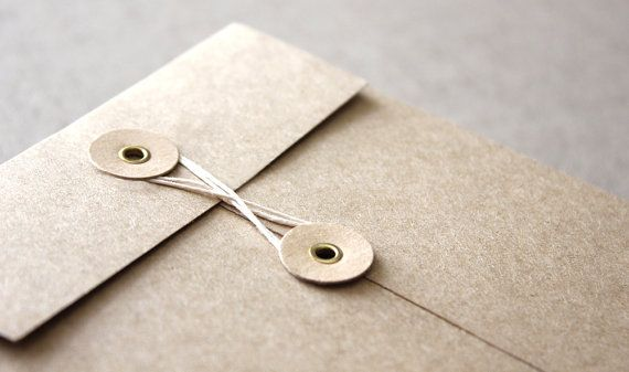 5 String and Button Envelopes - C6 small brown kraft string & tie envelope for invitations and wedding favors