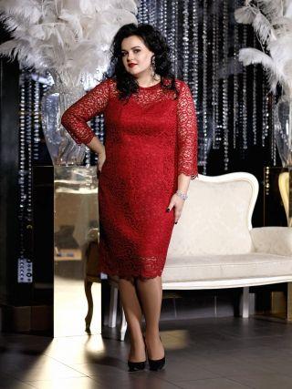 Платье с кружевным верхом, ярко-красное  – купить в интернет-магазине «L'MARKA»: доставка по России