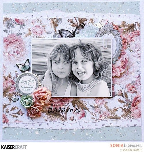 "Hi Kaisercrafters! You're in for a real treat today! You're going to love these shabby chic layouts featuring Sage & Grace. So many pretty details, we LOVED working with this collection! Scroll down to see our projects.. ""So Sweet "" Layout By Anita Bownds Kaisercraft products : P2309 Dainty 