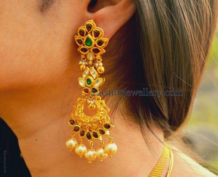 Jewellery Designs: Large Kundan Hangings