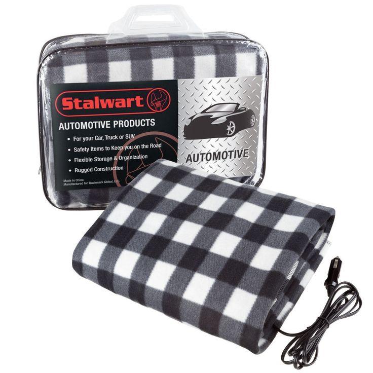 "Electric Heated Car Auto Throw Blanket 12 V Blue/Black Plaid 59"" x 43"" Any Car #Stalwart"